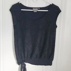 Anthropologie Navy Riley Lace Front Tank XS